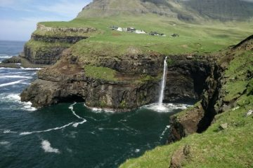 Faroe islands: Optical illusion, waterfall and turf houses